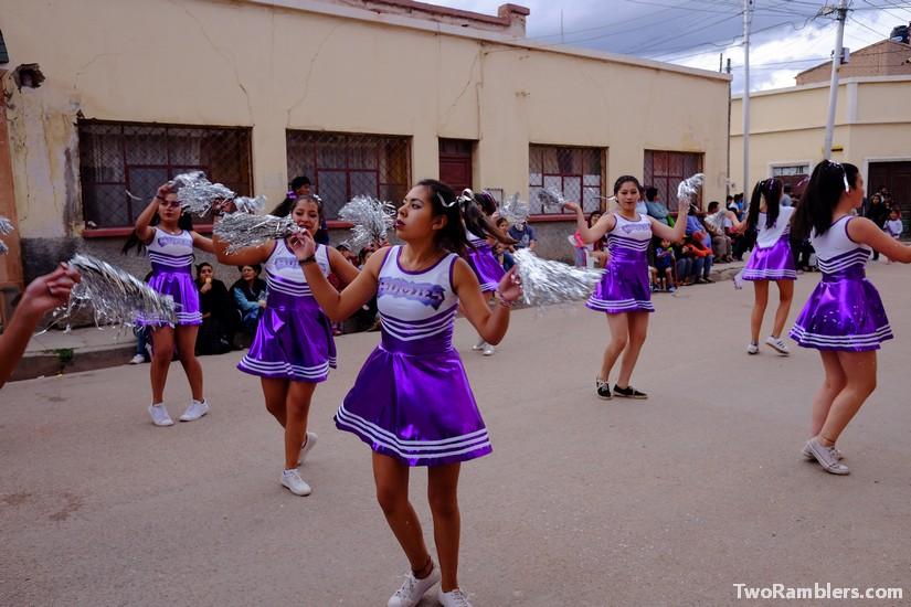 Girls dressed up as cheerleaders