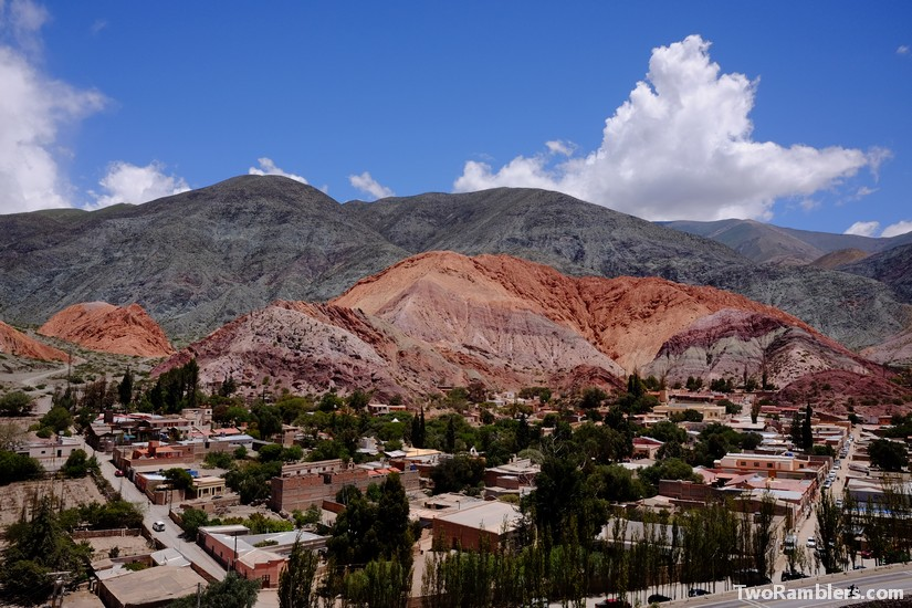 Coloured mountains, city in front