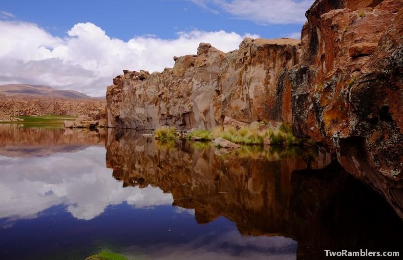 Cliffs over a lagoon