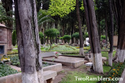 Cemetery with big, green trees