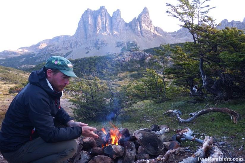 Campfire in front of Dientes de Navarino, Isla de Navarino