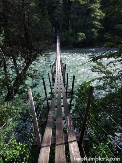 Bridge, hike to Refugio Hielo Azul, El Bolson, Argentina