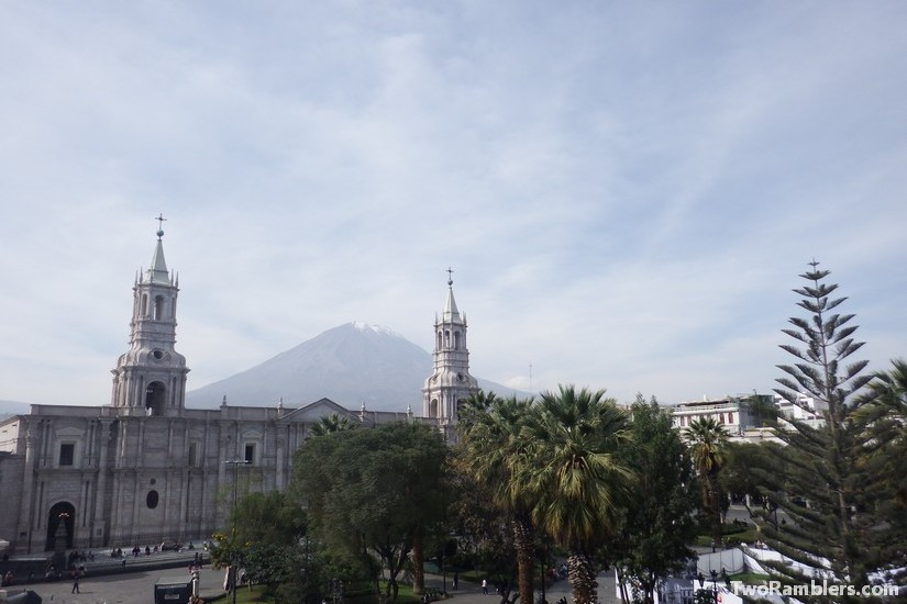 Cathedral of Arequipa and Volcano Misti, Peru