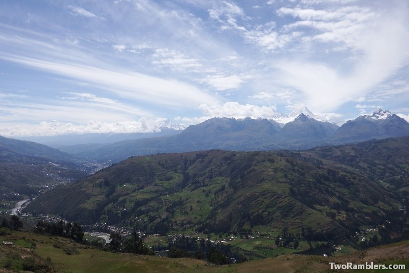 View on Huaraz and the Cordillera Blanca from Wilka Cocha, Peru