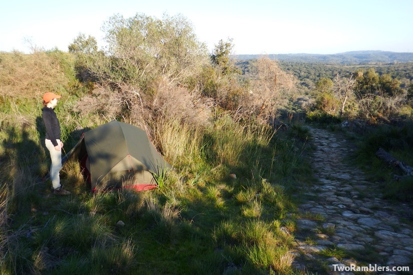 tent beside an old Roman road, Castillo de Castellar